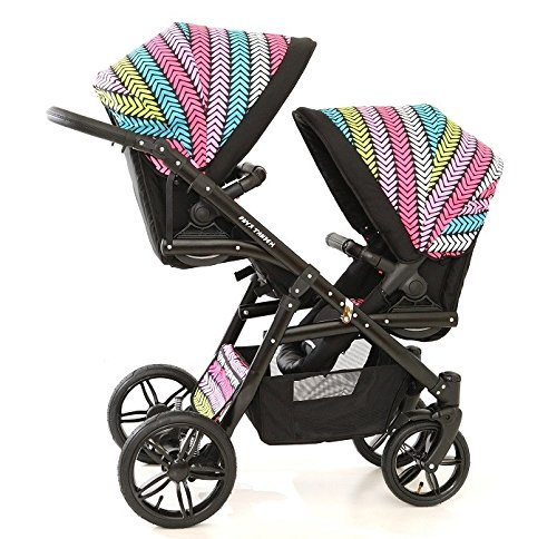Double pram for twins. 2 carrycots + 2 buggies + 2 car seats. Multicolour. BBtwin Berber Carlo Directly from the factory, warranty and advice. Made un the EU according to the regulations EN1888 and ECE44/04. Multicolour. Includes 2 carrycots, 2 buggy seats, 2 car seats, bag, 2 footcovers, 2 rain covers, 2 mosquito nets, lower basket. Features: lightweight aluminium frame, easy bending, adjustable handlebar, central brake, lockable front swivel wheels, shock absorbers, each buggy can be instaled independently in both directions, carrycots with a mattress and a washable cover, backrest adjustable in various positions, safety bar and harness of 5 points 4