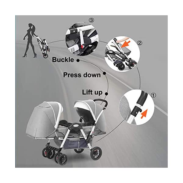 MYRCLMY Baby Strollers Twin Baby Strollers for Boys And Girls with Adjustable Backrest Double Face To Face with Shock Absorber Comfortable Folding Trolley,Gray MYRCLMY *TWIN STROLLER: Getting everywhere with two little ones has never been easier, thanks to the Double Strollers; you can glide around town even when you only have one hand free to steer; you can even roll through a standard size doorway. *ADJUSTABLE BACKREST & CONNECTABLE SEATS :The backrest can adjust to fit baby's sleep posture to keep comfortable sleeping. Two seats can be connected to lengthen the seat. *SAFETY WHEELS & 5-POINT SAFETY BELTS:The springs in front wheels absorb shocks for easy to control direction and safety. The 5-point safety belt is equipped with each seat to ensure security while keeping your baby fit to the safety belt to feel comfortable. 3
