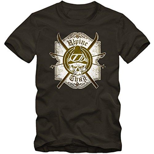 Ski Skull T-Shirt | Wintersport | Snowboarden |Schnee | Alpine Thug | Ski | Herrenshirt © Shirt Happenz Army (Army L190)