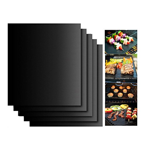 Set de 5 Tapis de Cuisson,KINGCOO Réutilisables Liners de Four Tapis de Grill Barbecue Plaque Feuille de Cuisson pour Gaz Charbon électrique 100% Anti-adhérent,40*33cm (Noir)
