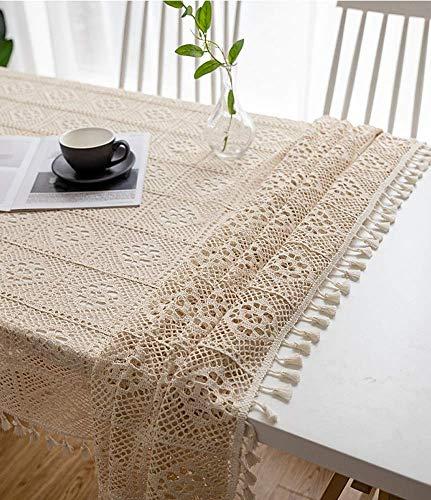 SCJ Vintage Handmade Crochet Diamond Tischdecke dekorative Makramee Spitze Tisch Pub Nachttischplatte Blatt Dekoration (Beige, Rechteck/länglich, 55 x 98,4 Zoll (Größe: 55 * 98,4 Zoll) -