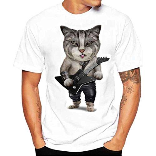 Yvelands Camiseta de Las Camisetas de la impresión Moda del o-Cuello de los Hombres Camisetas duraderas de la Blusa ¡Verano de Las Vacaciones, liquidación (Negro, L)