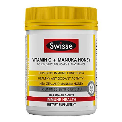 Suiza - Vitamina C + Miel de manuka Soporte inmune Miel y sabor a limón - 120Tabletas masticables