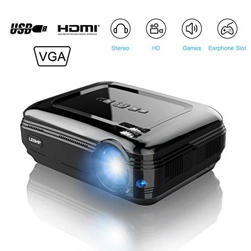 Video Projektor, leshp Mini-Projektor (LED FULL HD 3200LM Halterung 1080P Lieferung mit Kabel HDMI USB/SD/VGA/AV Projektor von Kino maison-noir