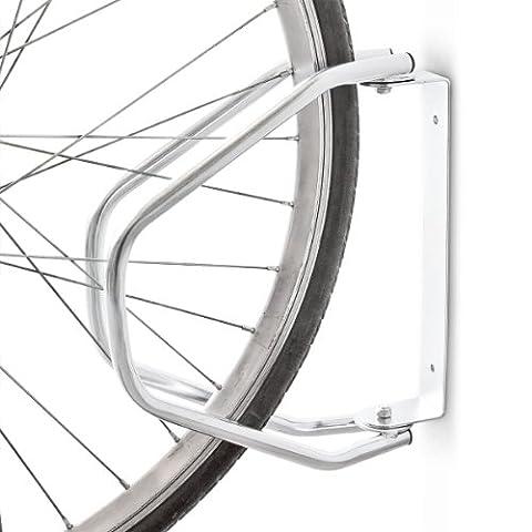 Relaxdays Râtelier vélo VTT H x l x P: 32,5 x 9 x 28,5 cm système range-vélo Parking support pour 1 vélo Métal fixation au sol ou murale porte-vélo, argent