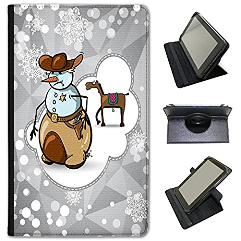 Cheval Vacances Flocon de neige Saison simili cuir Folio Presenter Coque Sac avec support de visionnage pour tablettes Kobo Kobo Aura H20 Waterproof Snowman Cowboy Sherriff Badge