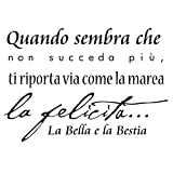 Dudecor La Bella e La Bestia Sticker Decorativo, PVC, Nero