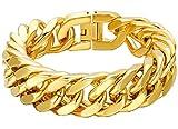 Gnzoe Schmuck Herren Armband Herrenarmband Gothic Armschmuck Edelstahl Gold Link Freundschaftsarmbänder 1.5X21.5CM