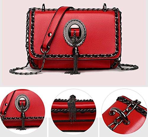 QPALZM 2017 Frau Retro Quaste Kette Tasche Multi-Layer-Schulter Schräge Kreuz Handtasche Red