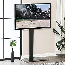 FITUEYES Meuble TV avec Support Pied Télé Pivotant Cantilever pour Ecran de 32 à 65 Pouce LED LCD Plasma TT107501MB