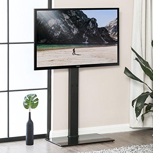 FITUEYES TV Bodenständer TV Standfuß TV Ständer Fernsehstand Fernsehtisch mit Halterung für 32 bis 65 Zoll LED LCD TV Höhenverstellbar schwenkbar Glas TT107501MB