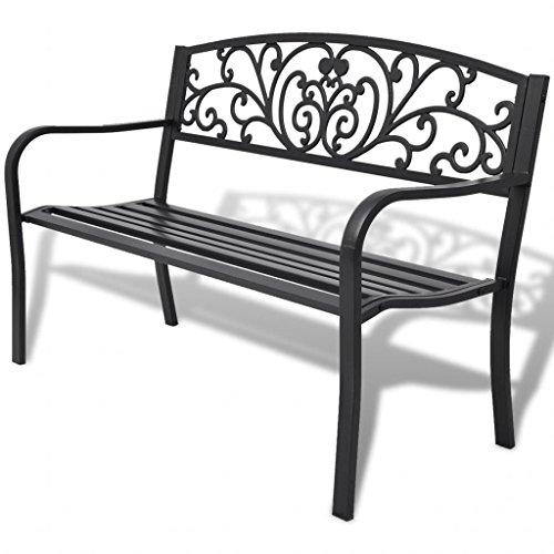 Tidyard Banc de Jadin Fonte Noir 2 Places Design Elégant pour Jardin/Patio 127 x 60 x 85 cm