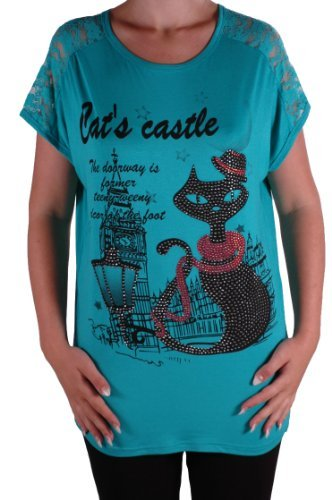 Eyecatch - Katze Graphic Frauen Lange Lässige Tunika Lace Top One Size Teal (Top Teal Lace)