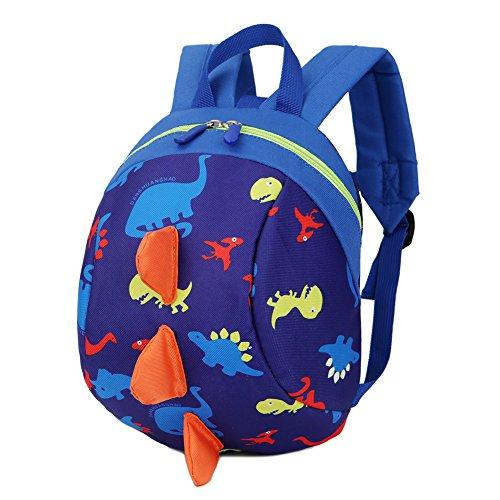 Luerme Kinderrucksack Kleinkind Jungen Mädchen Kindergartentasche Niedlich Dinosaurier Backpack Schultasche Rucksack mit Zugseil (Dunkelblau)