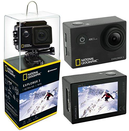 """National Geographic Action Cam Explorer 3 4K Ultra HD 170°, WLAN, 2\"""" LCD, HDMI, 2 AKKUS und umfangreiches Zubehör"""