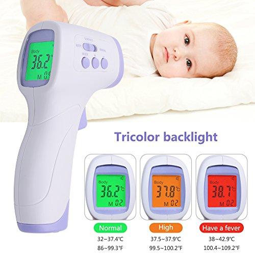 RCYAGO Digitales Thermometer Fieberthermometer Stirnthermometer kontaktloses Infrarot-Thermometer Medizin Alarmwert Einstellung Schnelles Ablesung Körpertemperatur Thermometer für Baby, Kinder, Erwachsene, Haustiere und Oberfläche