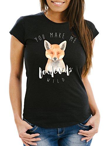MoonWorks Damen T-Shirt You Make me Fox Devils wild Liebe Denglisch Spruch Love Quote lustig verliebt Freund Freundin Slim Fit schwarz M