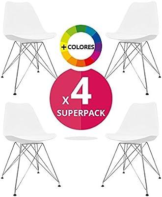 regalosMiguel - Pack de 4 Sillas Nórdicas Talis Blancas (Inspirada en la Línea Eames)