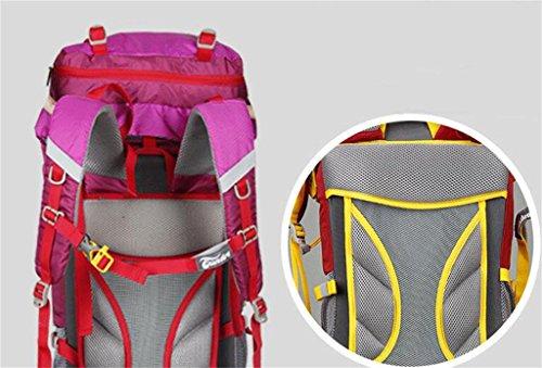 borsa da viaggio di alpinismo all'aperto zaino di grandi uomini e donne la capacità 55L65L ( Colore : Rosso , dimensioni : 55+10L ) Rose red
