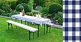 Auflagen Set für Festzeltgarnitur mit 50cm + 70cm Tisch, blau-kariert