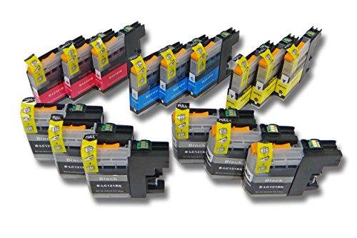 vhbw 15x Cartouches d'encre à puce pour Brother MFC-J 6720 DW, 6920 DW, 870 DW. Remplace: LC121, LC121BK, LC121C, LC121M, LC121Y.