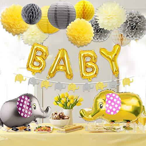 Dekorationen neutral für Jungen oder Mädchen, Baby-Dusche gelb und grau Elefant Thema Papier Pom Poms und Laternen, Elefant Walking Ballon und Girlande ()