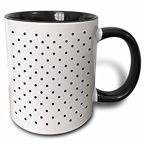 Mensuk Black Polka Dot Pattern on White Small Dots Retro Dotty Spotty Spots Stylish Cute 50S Classic Two Tone Black Mug, 11 oz, Black/White