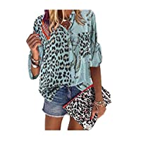 DUe Womens Leopard Stand Collar Blouse Splice Painting Plus Size T-Shirt Army Green M