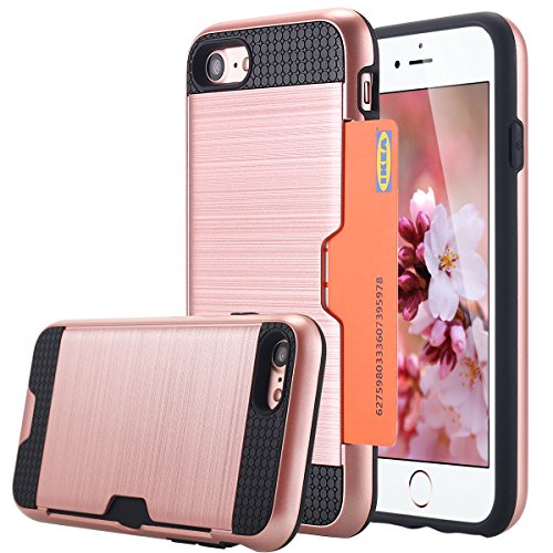 iPhone 7 cellulare, iPhone 7 Case, lontect Hybrid per Apple iPhone 7 con scomparto per carte – Dual TPU silicone Hardcase Custodia Cover rigida per Apple iPhone 7 rose gold