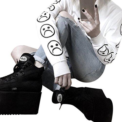 Longra Damen Herbst traurig Gesichter Emoticon Ärmel bedruckt Sweatshirt Langarm Pullover Blusen Tops (M, White) (Hoodie, Reißverschluss über Gesicht)
