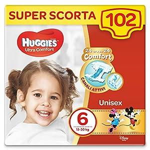 HUGGIES Pannolini Ultra Comfort, Taglia 6 (16-30 Kg), Confezione da 102 Pannolini 20 spesavip