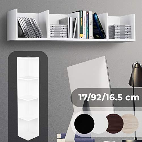CD DVD Regal - für bis zu 80 CDs, 17x92x16cm, 4 Fächer, Holz, Farbwahl - Ständer, Hängeregal, Wandregal, Bücherregal, Medienregal (Weiß) -