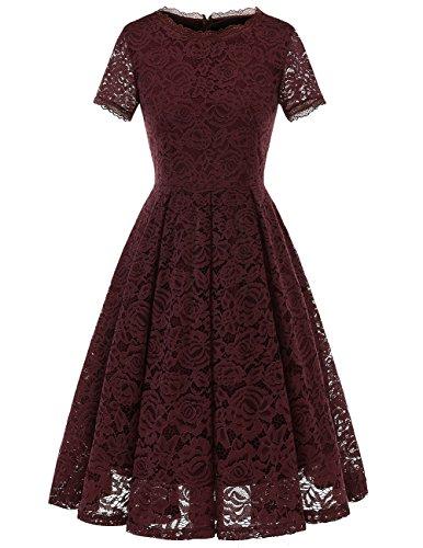Dresstells Damen Elegant Kleid Spitzenkleid Kurzarm Cocktailkleider Party Ballkleid Burgundy M