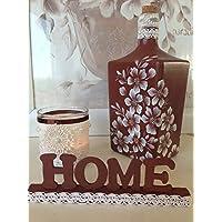botella de cristal pintada a mano, 3 piezas, botella porta-velas y letras