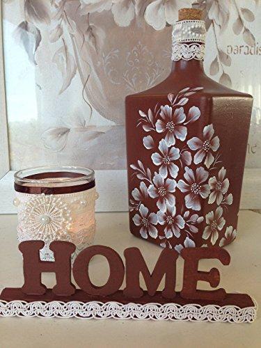 botella de cristal pintada a mano, 3 piezas, botella porta-velas y let