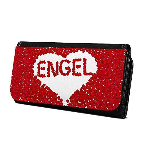 Geldbörse mit Namen Engel - Design Rosenherz - Brieftasche, Geldbeutel, Portemonnaie, personalisiert für Damen und Herren (Engel Geldbörse)