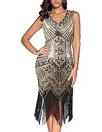 d4f4f7c9495ec Flapper Dress, 1920s Flapper Dress V Neck Beaded Fringed Gatsby Theme  Flapper Dresses for Women