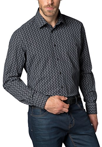 Eterna long sleeve Shirt MODERN FIT Poplin printed Nero/Bianco
