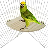 20 Cm / 8 Inch Natural Wood Mountable Corner Perch Platform Suitable For All Pet Birds Inside & Outside Cage (for Comfortable Sleep & Feeding)