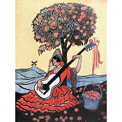Lengo Sphere Spanish Guitar Woman Tree Painting Large Print Poster Wall Art Decor Picture Español Guitarra Mujer Árbol Pintura Póster Pared Imagen