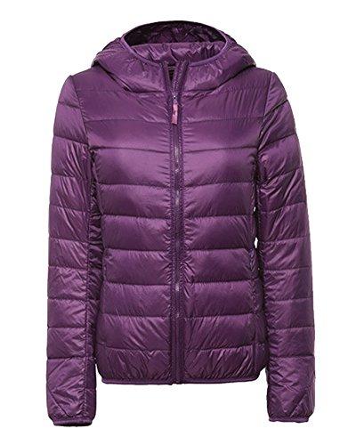 ZhuiKun Damen Daunenjacke Leicht Winter Jacke Daunenmantel Übergangsjacke Steppjacke Mit Kapuze Violett M