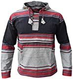 LITTLE KATHMANDU Männer Schwarz Grau Mix Pullover Heavy Baumwolle Grandad Kapuzenpullover Large