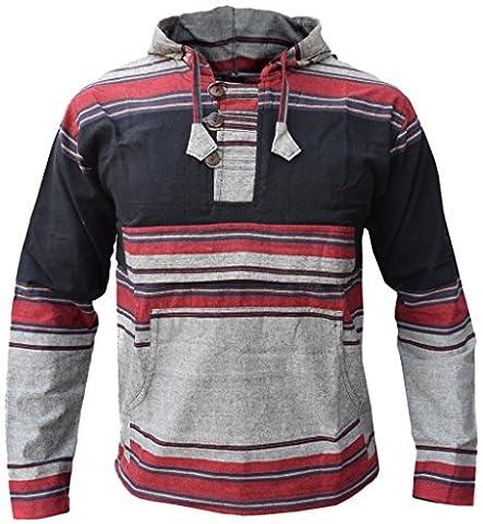 Little Kathmandu Männer Schwarz Grau Mix Pullover Heavy Baumwolle Grandad Kapuzenpullover (Nepal Herren Hoodie)