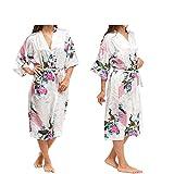 Women's Robes Peacock and Blossoms Kimono Satin Nightwear Long Style UK Stock (M, White)