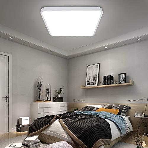 VINGO® 60W LED Deckenleuchte kaltweiß Eckig Wohnzimmerlampe Esszimmerlampe Schlafzimmerleuchte Badezimmerlampe spritzwassergeschützt energiesparend
