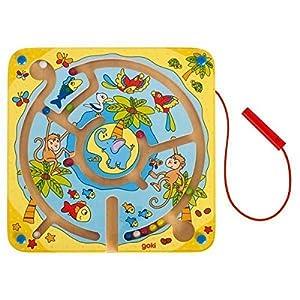 Goki-53818 Juegos de acción y reflejosJuegos educativosGOKILaberinto magnético Isla de Animales, Multicolor (53818)