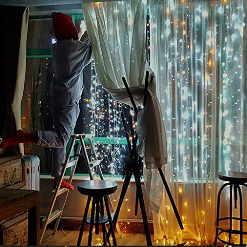 6 x 3 m, 600 Lichter, USB-Fernbedienung, für Innen- und Außenbereich, für Partys, Hochzeiten, Hintergrund Mehrfarbig ()