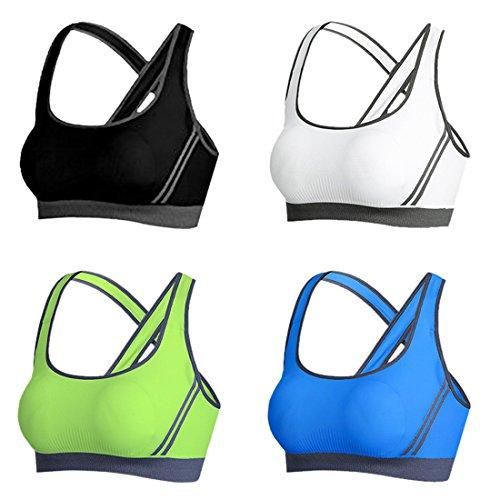 Vertvie Femme Lot de 4 Soutien-gorge de Sport Push Up Brassière Lingerie Sans Armature Respirant pour Yoga Fitness Jogging Noir+Blanc+Bleu+Vert de Fruit