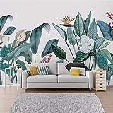 Mddjj Foto Wallpaper 3D Piante Tropicali Fiori E Uccelli Murales Soggiorno Tv Divano Biancheria Da Letto Camera Da Letto Sfondo Pittura Home Decor-400X280Cm