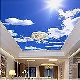 Fushoulu Blauer Himmel Weiße Wolken Fototapete Benutzerdefinierte Decke Wandbild Hotel Esszimmer Wohnzimmer Fresken Wohnkultur3D-120X100Cm